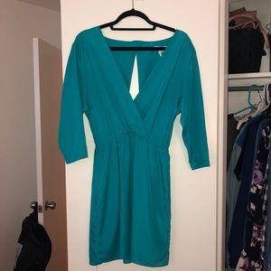 Turquoise BCBG Open Back 3/4 Sleeve Dress